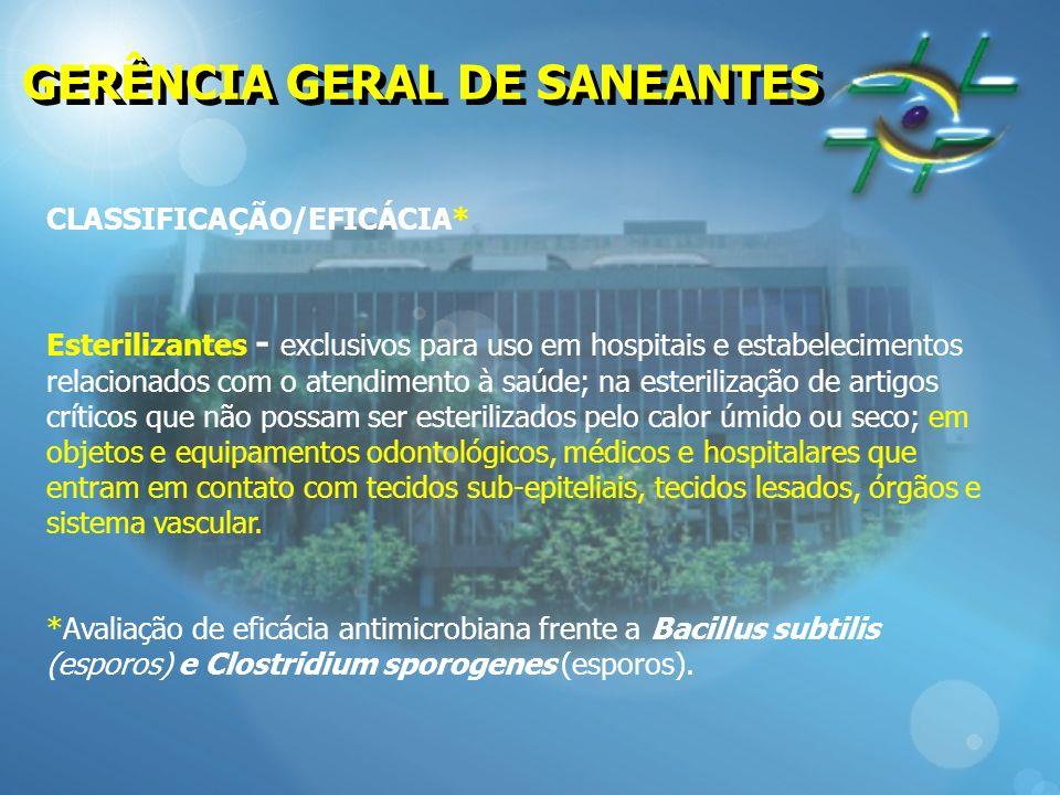 GERÊNCIA GERAL DE SANEANTES CLASSIFICAÇÃO/EFICÁCIA* Esterilizantes - exclusivos para uso em hospitais e estabelecimentos relacionados com o atendiment