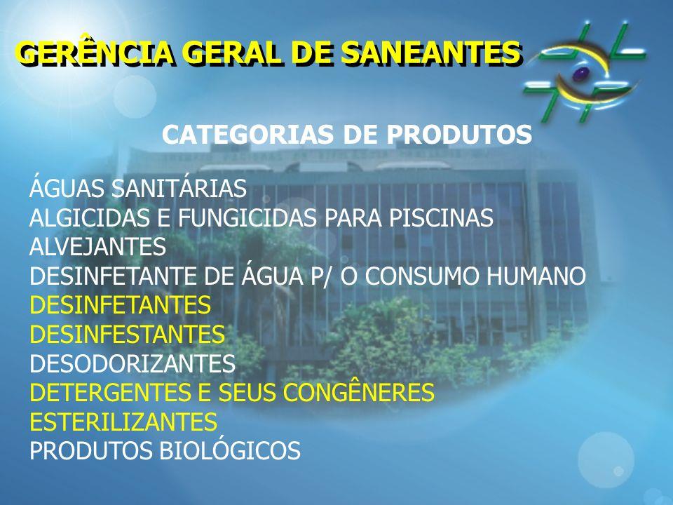 GERÊNCIA GERAL DE SANEANTES CATEGORIAS DE PRODUTOS ÁGUAS SANITÁRIAS ALGICIDAS E FUNGICIDAS PARA PISCINAS ALVEJANTES DESINFETANTE DE ÁGUA P/ O CONSUMO