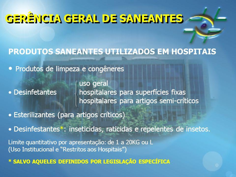 GERÊNCIA GERAL DE SANEANTES PRODUTOS SANEANTES UTILIZADOS EM HOSPITAIS Produtos de limpeza e congêneres uso geral Desinfetanteshospitalares para super