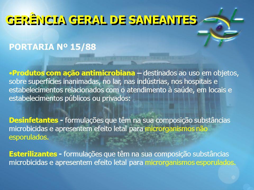 GERÊNCIA GERAL DE SANEANTES PORTARIA Nº 15/88 Produtos com ação antimicrobiana – destinados ao uso em objetos, sobre superfícies inanimadas, no lar, n