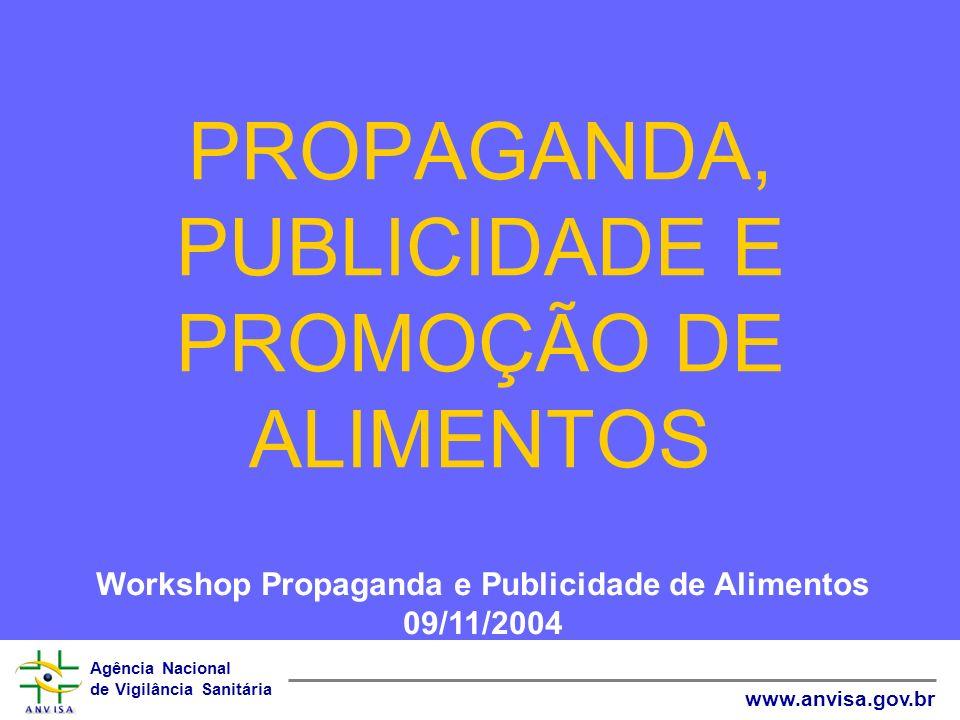 Agência Nacional de Vigilância Sanitária www.anvisa.gov.br PROPAGANDA, PUBLICIDADE E PROMOÇÃO DE ALIMENTOS Workshop Propaganda e Publicidade de Alimen