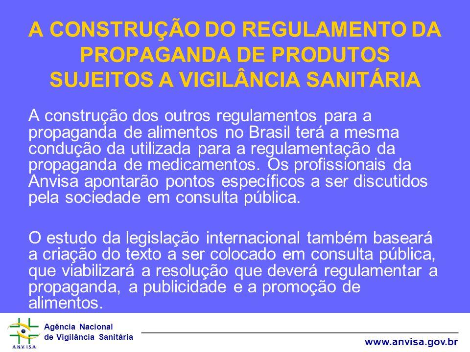 Agência Nacional de Vigilância Sanitária www.anvisa.gov.br A CONSTRUÇÃO DO REGULAMENTO DA PROPAGANDA DE PRODUTOS SUJEITOS A VIGILÂNCIA SANITÁRIA A con