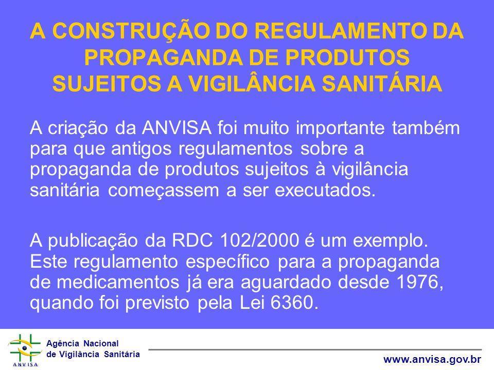 Agência Nacional de Vigilância Sanitária www.anvisa.gov.br A CONSTRUÇÃO DO REGULAMENTO DA PROPAGANDA DE PRODUTOS SUJEITOS A VIGILÂNCIA SANITÁRIA Para incrementar a fiscalização, em 2004 foi criada a Gerência de Monitoramento e Fiscalização de Propaganda, Publicidade, Promoção e Informação de Produtos Sujeitos à Vigilância Sanitária (GPROP).