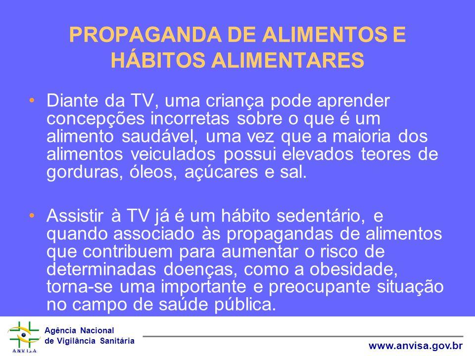 Agência Nacional de Vigilância Sanitária www.anvisa.gov.br PROPAGANDA DE ALIMENTOS E HÁBITOS ALIMENTARES Diante da TV, uma criança pode aprender conce