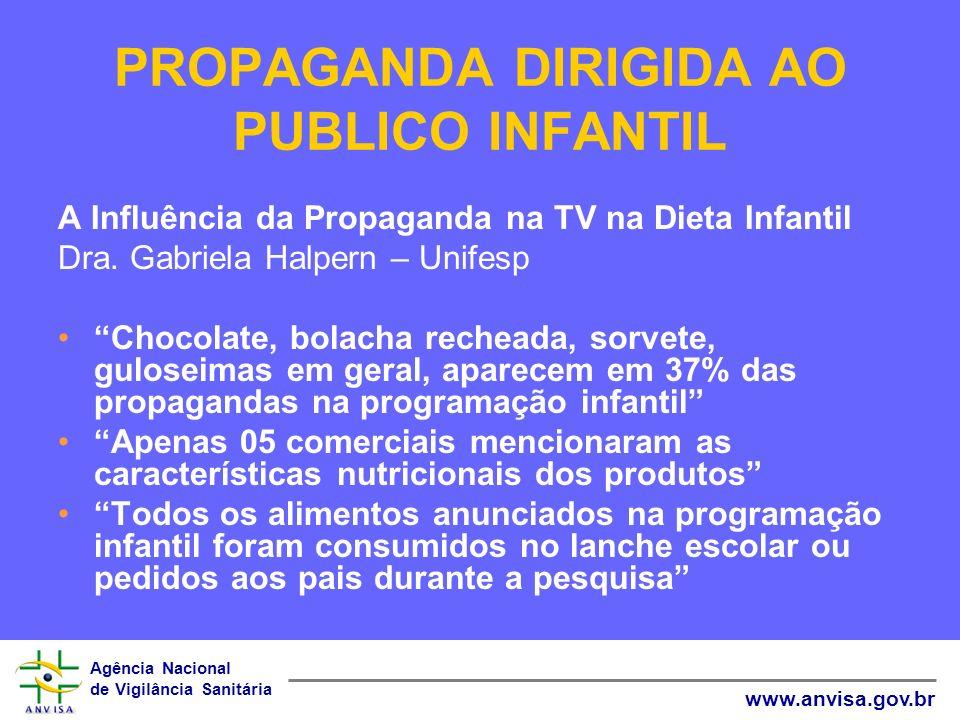 Agência Nacional de Vigilância Sanitária www.anvisa.gov.br PROPAGANDA DIRIGIDA AO PUBLICO INFANTIL A Influência da Propaganda na TV na Dieta Infantil
