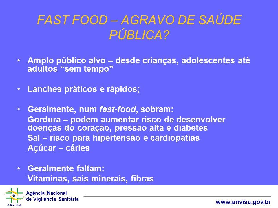 Agência Nacional de Vigilância Sanitária www.anvisa.gov.br FAST FOOD – AGRAVO DE SAÚDE PÚBLICA? Amplo público alvo – desde crianças, adolescentes até