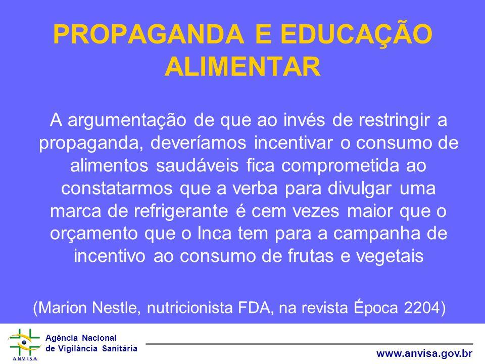 Agência Nacional de Vigilância Sanitária www.anvisa.gov.br PROPAGANDA E EDUCAÇÃO ALIMENTAR A argumentação de que ao invés de restringir a propaganda,
