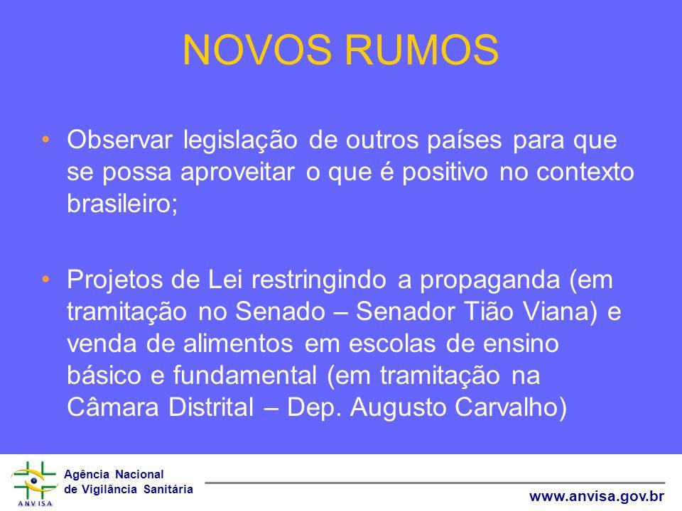 Agência Nacional de Vigilância Sanitária www.anvisa.gov.br NOVOS RUMOS Observar legislação de outros países para que se possa aproveitar o que é posit