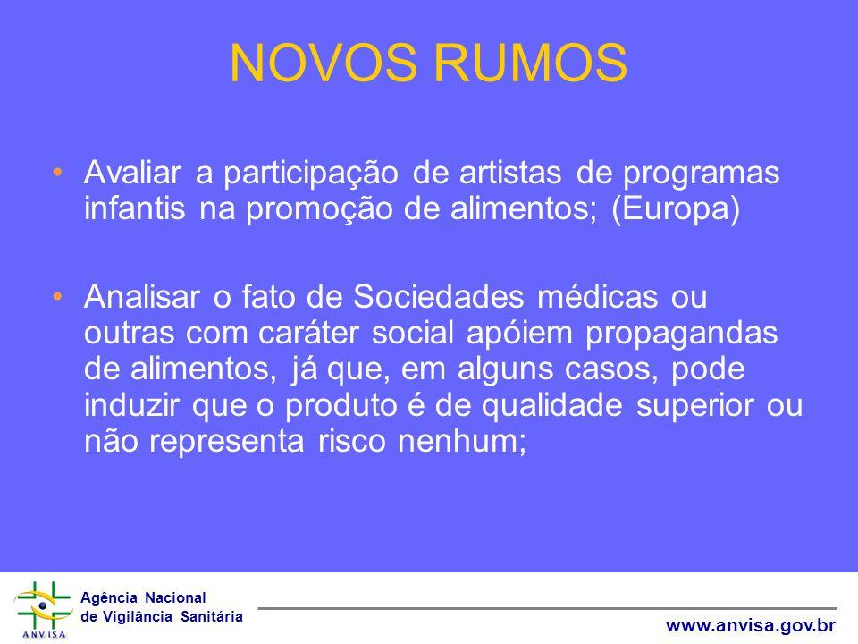 Agência Nacional de Vigilância Sanitária www.anvisa.gov.br NOVOS RUMOS Avaliar a participação de artistas de programas infantis na promoção de aliment