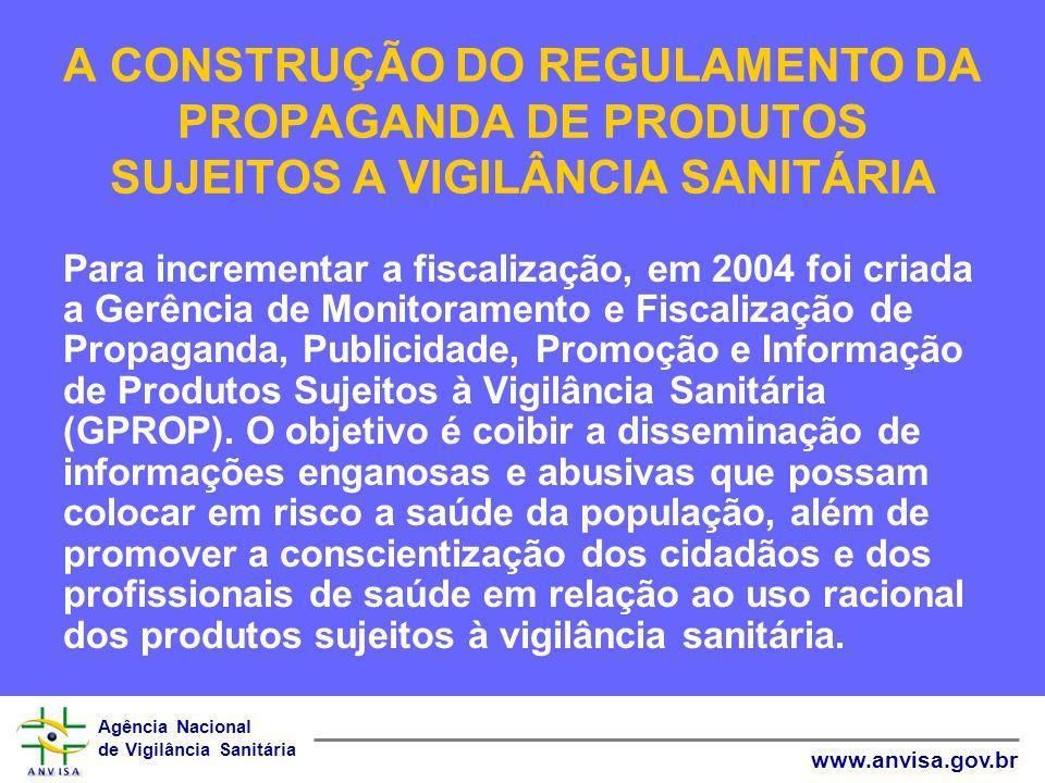 Agência Nacional de Vigilância Sanitária www.anvisa.gov.br A CONSTRUÇÃO DO REGULAMENTO DA PROPAGANDA DE PRODUTOS SUJEITOS A VIGILÂNCIA SANITÁRIA Após a publicação da RDC 102/2000, conseguir alcançar uma amostragem fidedigna da prática da propaganda de medicamentos no Brasil era um desafio.