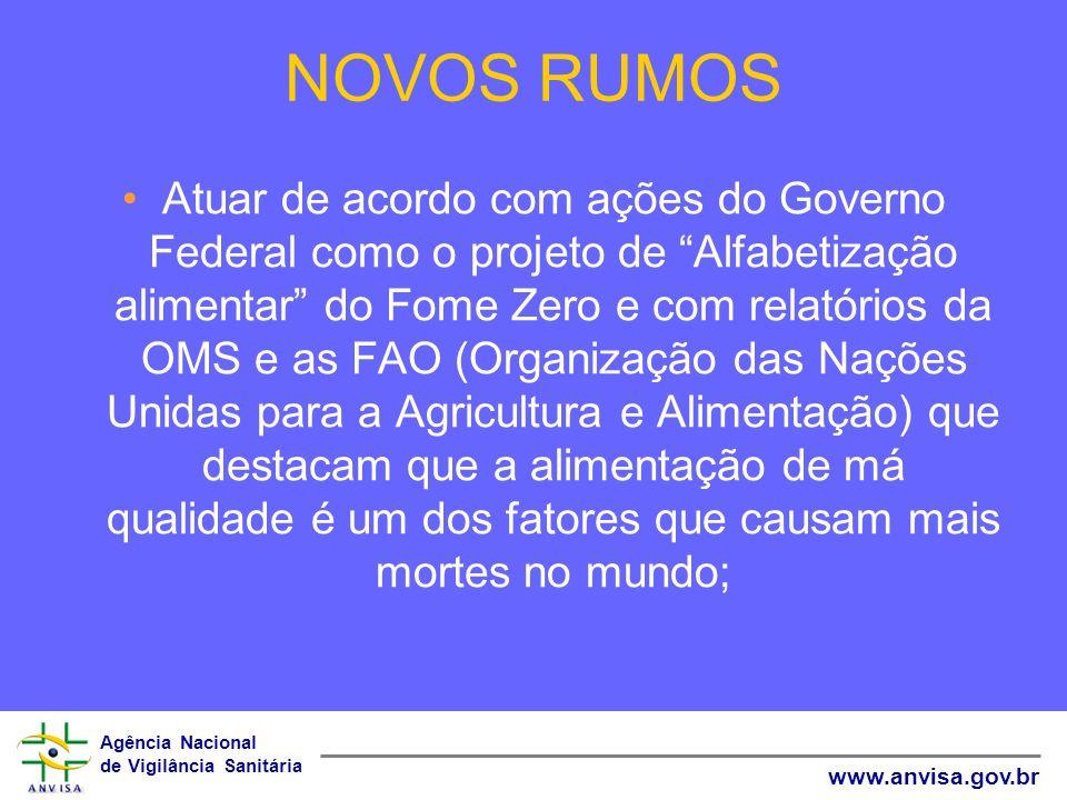 Agência Nacional de Vigilância Sanitária www.anvisa.gov.br NOVOS RUMOS Atuar de acordo com ações do Governo Federal como o projeto de Alfabetização al
