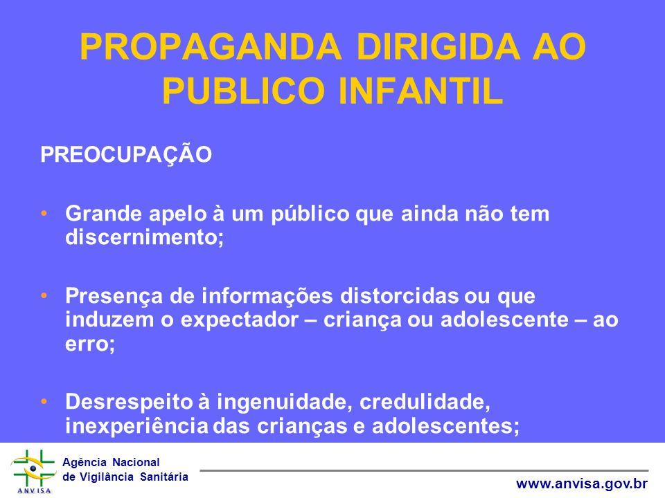 Agência Nacional de Vigilância Sanitária www.anvisa.gov.br PROPAGANDA DIRIGIDA AO PUBLICO INFANTIL PREOCUPAÇÃO Grande apelo à um público que ainda não