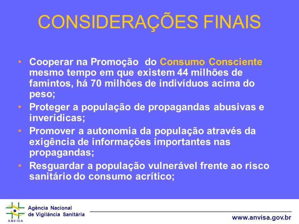 Agência Nacional de Vigilância Sanitária www.anvisa.gov.br CONSIDERAÇÕES FINAIS Cooperar na Promoção do Consumo Consciente mesmo tempo em que existem