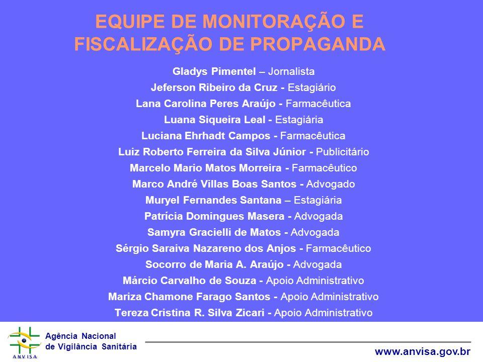 Agência Nacional de Vigilância Sanitária www.anvisa.gov.br Gladys Pimentel – Jornalista Jeferson Ribeiro da Cruz - Estagiário Lana Carolina Peres Araú