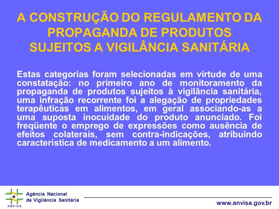Agência Nacional de Vigilância Sanitária www.anvisa.gov.br A CONSTRUÇÃO DO REGULAMENTO DA PROPAGANDA DE PRODUTOS SUJEITOS A VIGILÂNCIA SANITÁRIA Estas
