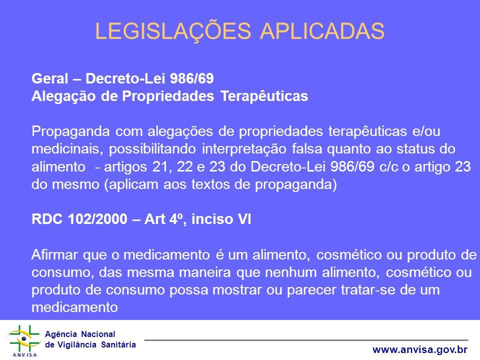 Agência Nacional de Vigilância Sanitária www.anvisa.gov.br LEGISLAÇÕES APLICADAS Geral – Decreto-Lei 986/69 Alegação de Propriedades Terapêuticas Prop