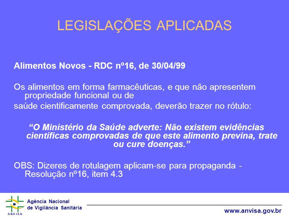 Agência Nacional de Vigilância Sanitária www.anvisa.gov.br LEGISLAÇÕES APLICADAS Alimentos com Alegações de Propriedades Funcionais e/ou de Saúde Âmbito de aplicação - A RDC nº 18, de 30/04/99, RDC nº 19, de 30/04/99 As alegações podem fazer referências à manutenção geral da saúde, ao papel fisiológico dos nutrientes e não nutrientes e à redução de risco a doenças.