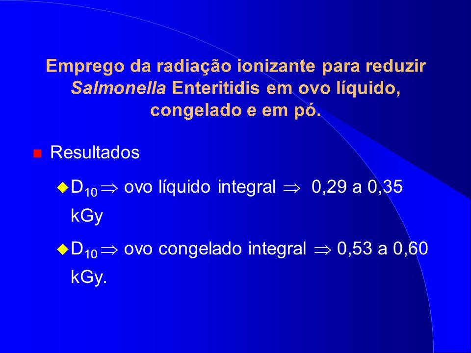 Emprego da radiação ionizante para reduzir Salmonella Enteritidis em ovo líquido, congelado e em pó. n Resultados D 10 ovo líquido integral 0,29 a 0,3