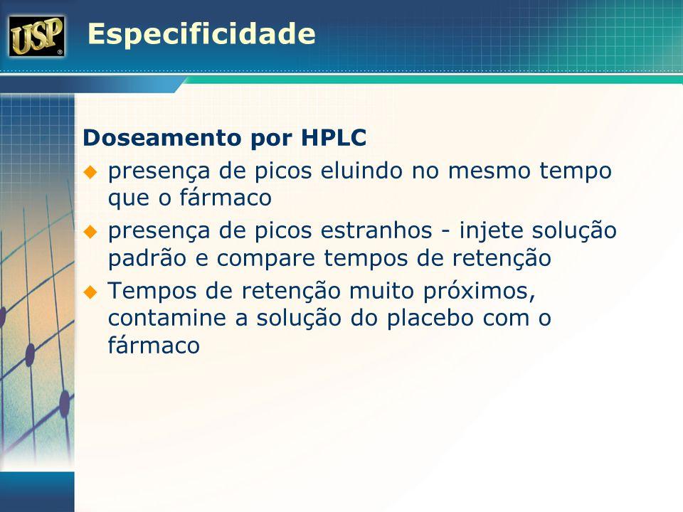 Especificidade Doseamento por HPLC presença de picos eluindo no mesmo tempo que o fármaco presença de picos estranhos - injete solução padrão e compar