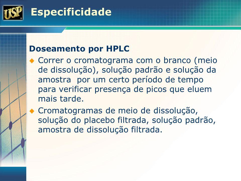 Especificidade Doseamento por HPLC Correr o cromatograma com o branco (meio de dissolução), solução padrão e solução da amostra por um certo período d