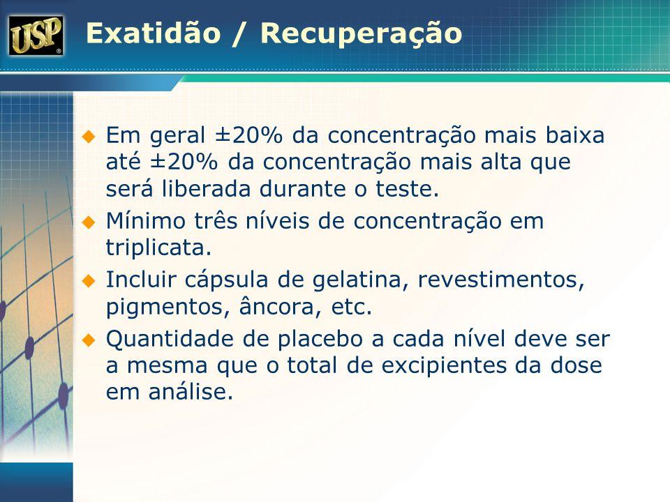 Exatidão / Recuperação Em geral ±20% da concentração mais baixa até ±20% da concentração mais alta que será liberada durante o teste. Mínimo três níve