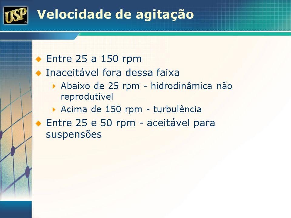 Velocidade de agitação Entre 25 a 150 rpm Inaceitável fora dessa faixa Abaixo de 25 rpm - hidrodinâmica não reprodutível Acima de 150 rpm - turbulênci