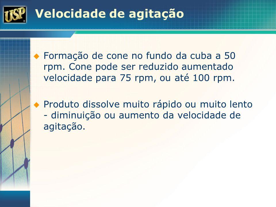 Velocidade de agitação Formação de cone no fundo da cuba a 50 rpm. Cone pode ser reduzido aumentado velocidade para 75 rpm, ou até 100 rpm. Produto di