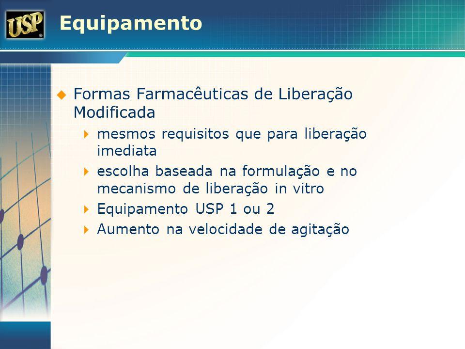 Equipamento Formas Farmacêuticas de Liberação Modificada mesmos requisitos que para liberação imediata escolha baseada na formulação e no mecanismo de