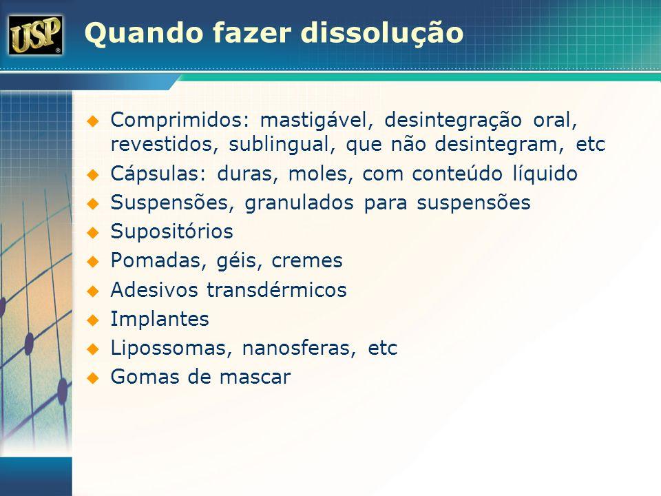 Quando fazer dissolução Comprimidos: mastigável, desintegração oral, revestidos, sublingual, que não desintegram, etc Cápsulas: duras, moles, com cont