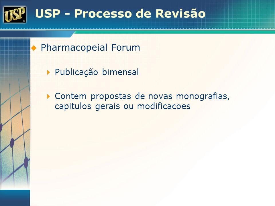 USP - Processo de Revisão Pharmacopeial Forum Publicação bimensal Contem propostas de novas monografias, capitulos gerais ou modificacoes