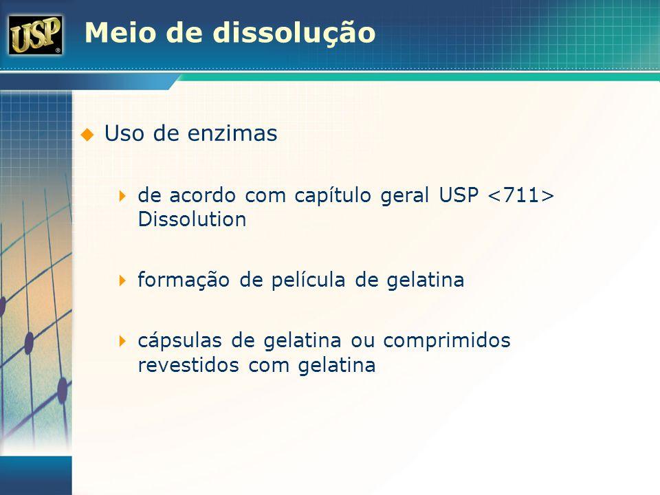 Meio de dissolução Uso de enzimas de acordo com capítulo geral USP Dissolution formação de película de gelatina cápsulas de gelatina ou comprimidos re
