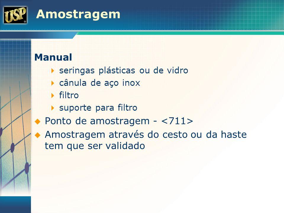 Amostragem Manual seringas plásticas ou de vidro cânula de aço inox filtro suporte para filtro Ponto de amostragem - Amostragem através do cesto ou da