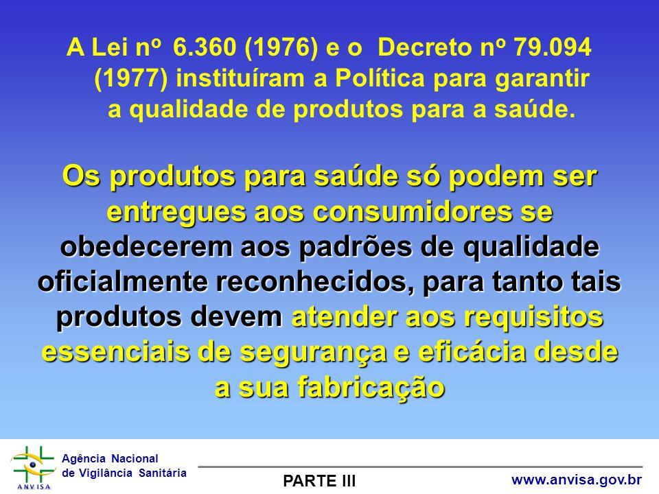 Agência Nacional de Vigilância Sanitária www.anvisa.gov.br A Lei n o 6.360 (1976) e o Decreto n o 79.094 (1977) instituíram a Política para garantir a