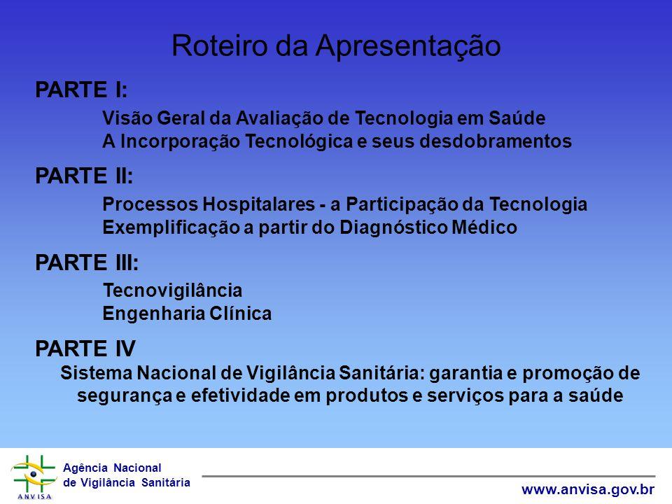 Agência Nacional de Vigilância Sanitária www.anvisa.gov.br Roteiro da Apresentação PARTE I: Visão Geral da Avaliação de Tecnologia em Saúde A Incorpor