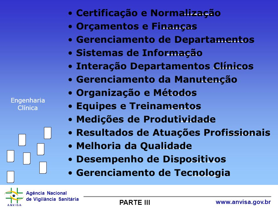 Agência Nacional de Vigilância Sanitária www.anvisa.gov.br Certificação e Normalização Orçamentos e Finanças Gerenciamento de Departamentos Sistemas d