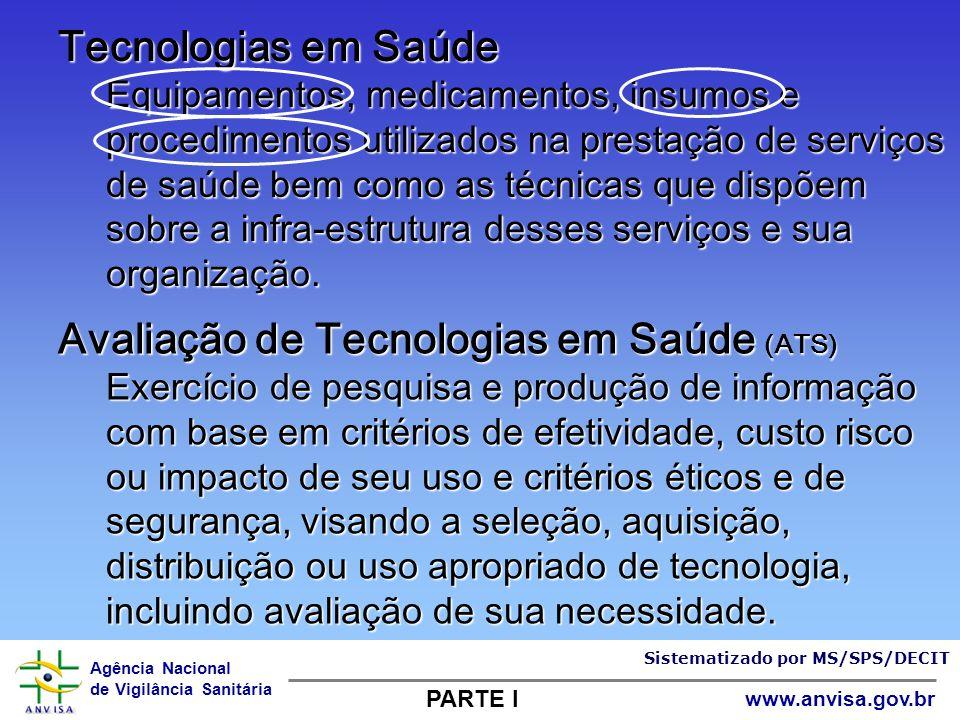 Agência Nacional de Vigilância Sanitária www.anvisa.gov.br Tecnologias em Saúde Equipamentos, medicamentos, insumos e procedimentos utilizados na pres