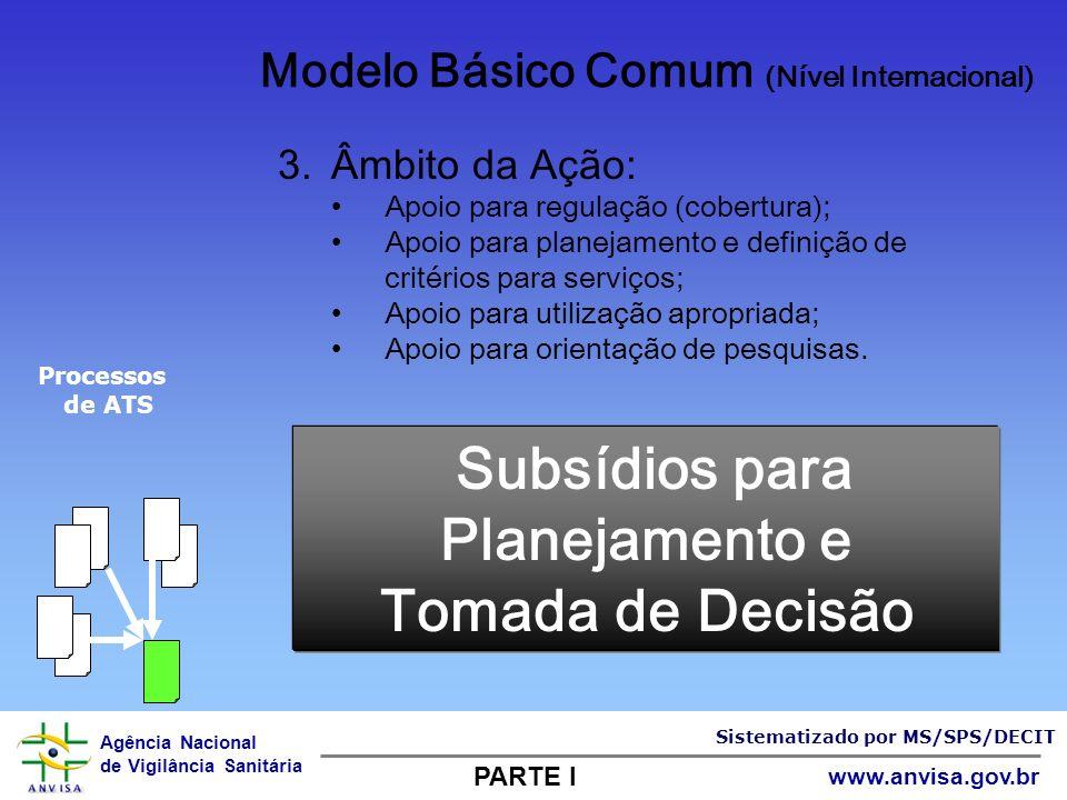 Agência Nacional de Vigilância Sanitária www.anvisa.gov.br Subsídios para Planejamento e Tomada de Decisão 3.Âmbito da Ação: Apoio para regulação (cob