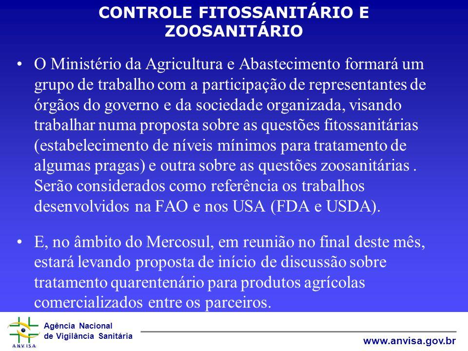 Agência Nacional de Vigilância Sanitária www.anvisa.gov.br CONTROLE FITOSSANITÁRIO E ZOOSANITÁRIO O Ministério da Agricultura e Abastecimento formará