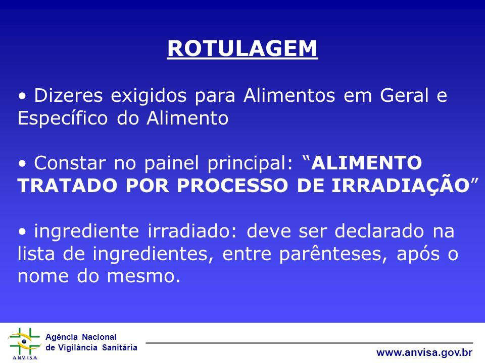 Agência Nacional de Vigilância Sanitária www.anvisa.gov.br ROTULAGEM Dizeres exigidos para Alimentos em Geral e Específico do Alimento Constar no pain