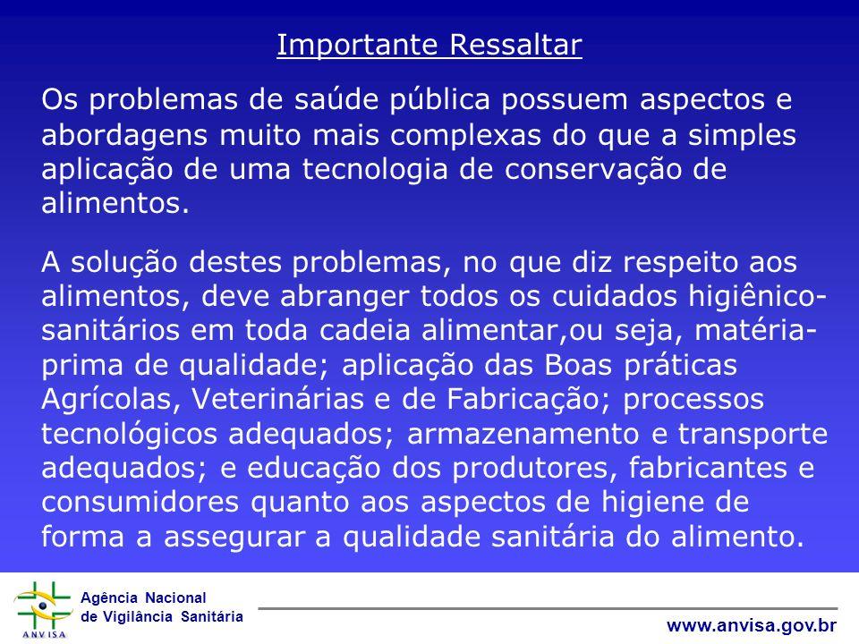 Agência Nacional de Vigilância Sanitária www.anvisa.gov.br Importante Ressaltar Os problemas de saúde pública possuem aspectos e abordagens muito mais