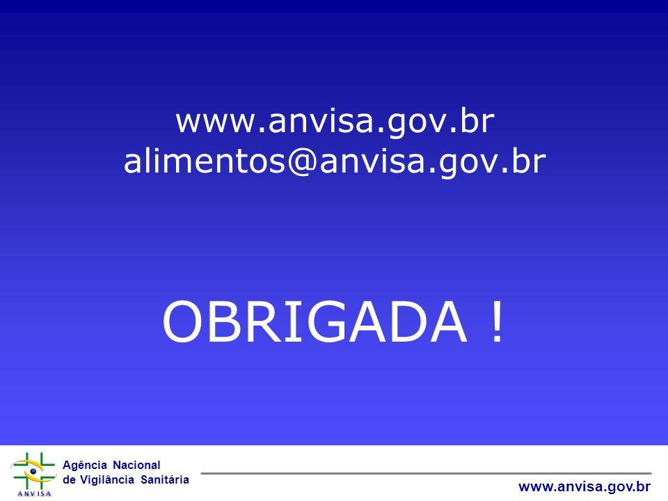 Agência Nacional de Vigilância Sanitária www.anvisa.gov.br www.anvisa.gov.br alimentos@anvisa.gov.br OBRIGADA !