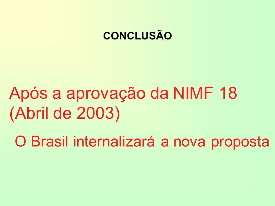 Após a aprovação da NIMF 18 (Abril de 2003) O Brasil internalizará a nova proposta CONCLUSÃO