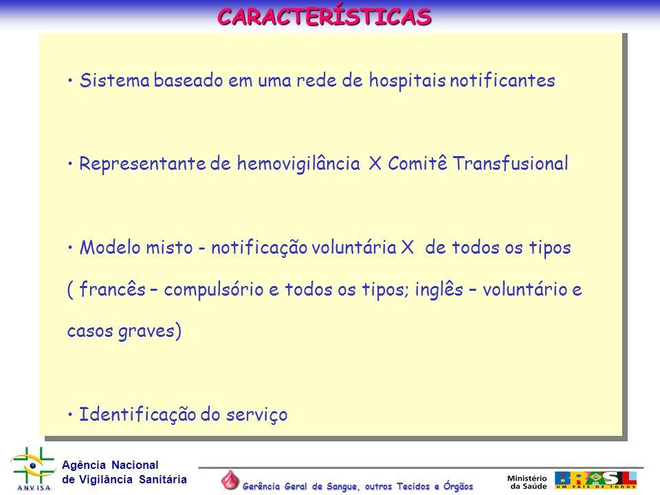 Agência Nacional de Vigilância Sanitária Gerência Geral de Sangue, outros Tecidos e Órgãos Sistema baseado em uma rede de hospitais notificantes Repre