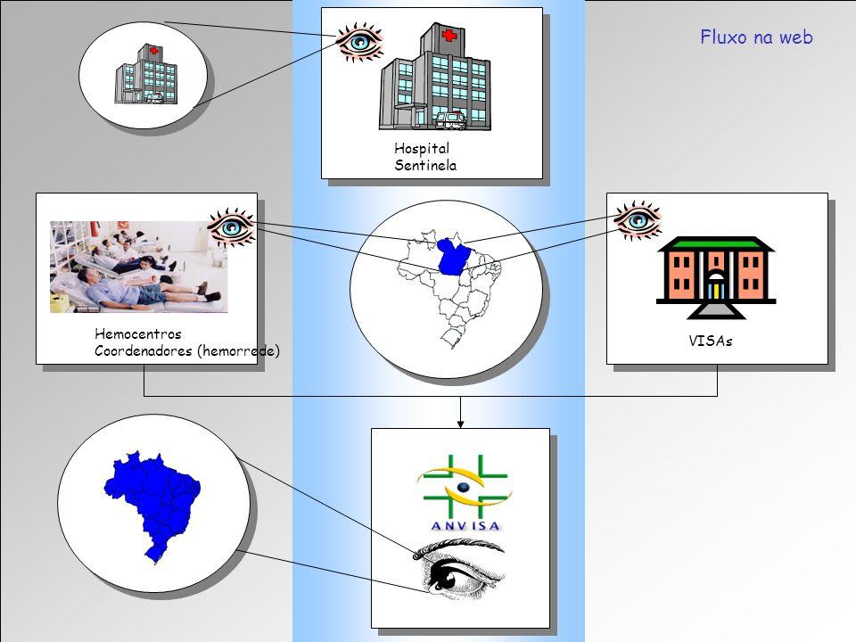 Agência Nacional de Vigilância Sanitária Gerência Geral de Sangue, outros Tecidos e Órgãos Fluxo na web Hospital Sentinela VISAs Hemocentros Coordenad
