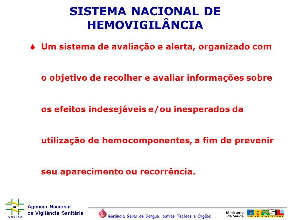 Agência Nacional de Vigilância Sanitária Gerência Geral de Sangue, outros Tecidos e Órgãos SISTEMA NACIONAL DE HEMOVIGILÂNCIA Um sistema de avaliação