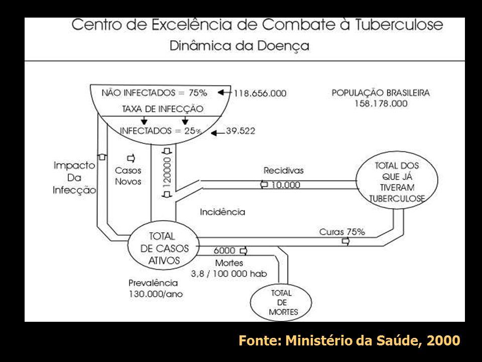 Introdução EUA: ressurgimento da tuberculose como resultado de corte de recursos e SIDA no final da década de 80 Brasil, 1998: 51,3 casos/100000 hab M