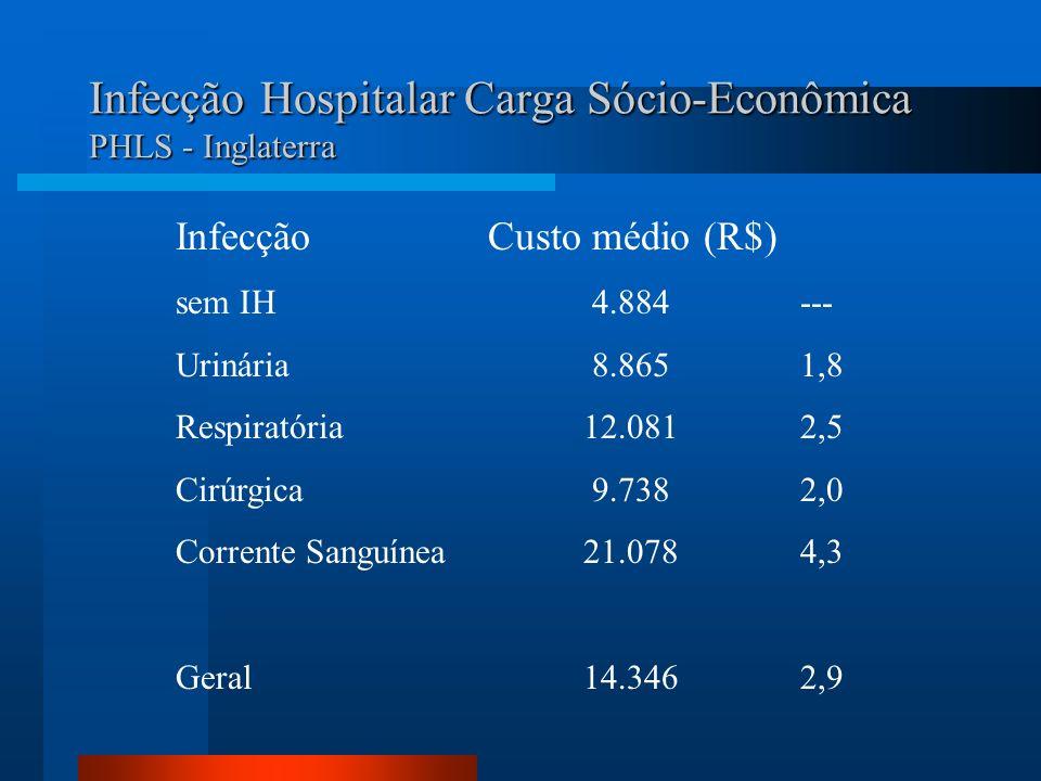 Infecção Hospitalar Carga Sócio-Econômica PHLS - Inglaterra InfecçãoCusto médio (R$) sem IH4.884--- Urinária8.8651,8 Respiratória 12.0812,5 Cirúrgica9