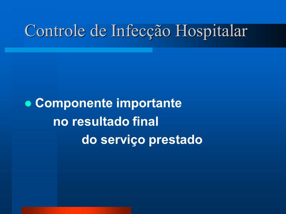 Controle de Infecção Hospitalar Componente importante no resultado final do serviço prestado