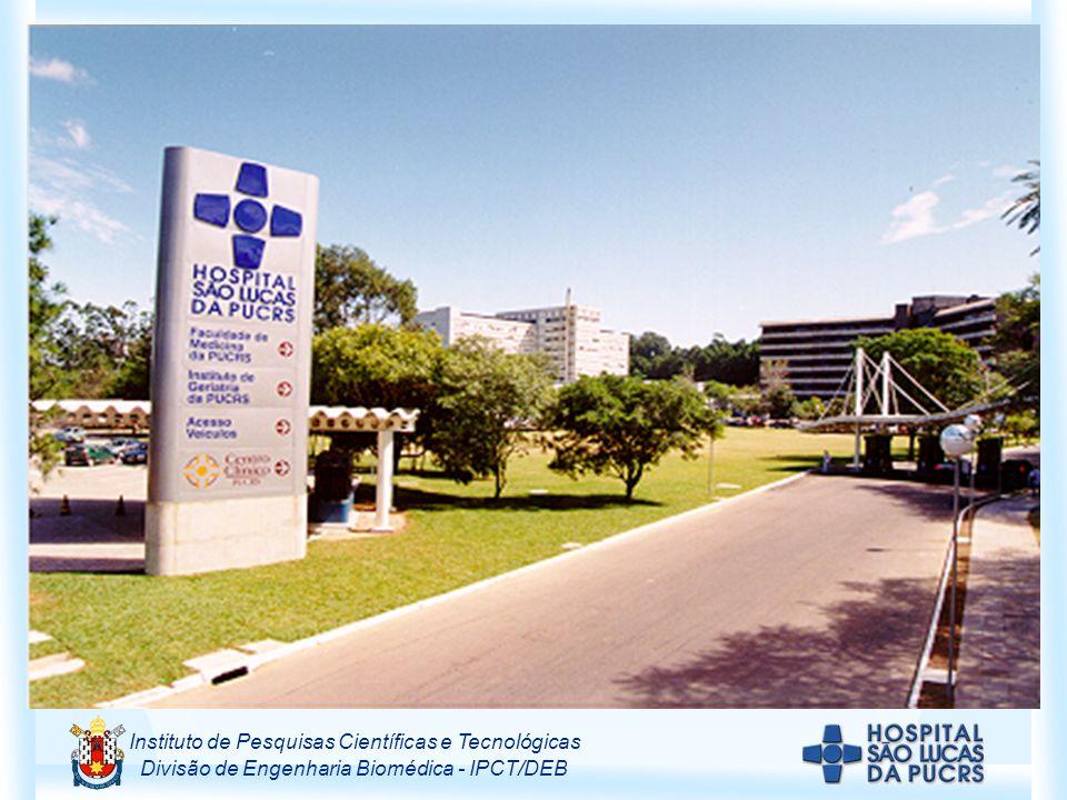 Instituto de Pesquisas Científicas e Tecnológicas Divisão de Engenharia Biomédica - IPCT/DEB ALGUNS DADOS DO HOSPITAL SÃO LUCAS DA PUCRS Número de leitos: 540 Produção do ano 2002 Consultas: 324.000 Exames (imagem, gráficos e laboratoriais): 1.935.000 Cirurgias e partos: 24.000 Internação em UTI: 29.000 Principais serviços: anatomia patológica, hemoterapia, ecografia, EEG, endoscopia, fisiatria, fonoaudiologia, hemodiálise, hemodinâmica, análises clínicas, função cardiopulmonar, litotripsia, medicina nuclear, quimioterapia, radiologia, radioterapia, tomografia computadorizada, ressonância magnética.