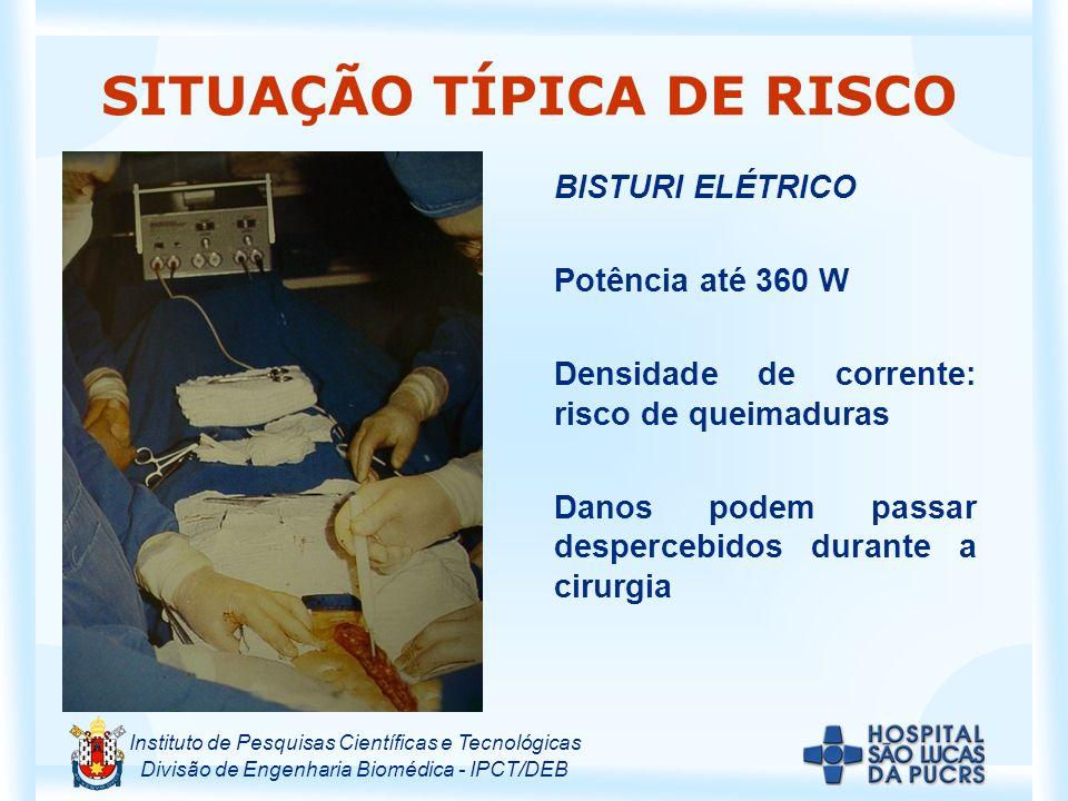 Instituto de Pesquisas Científicas e Tecnológicas Divisão de Engenharia Biomédica - IPCT/DEB SITUAÇÃO TÍPICA DE RISCO BISTURI ELÉTRICO Potência até 36